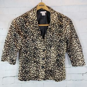 Luii Cheetah Print Jacket 3/4 Sleeve Size Small